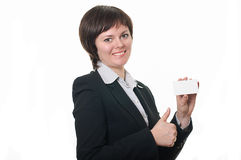 Smiling young business woman. Showing blank Royalty Free Stock Photography