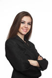 Smiling young business woman. Over white Royalty Free Stock Photo