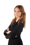 Smiling young business woman in black coat Royalty Free Stock Photos