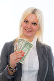 Smiling young business woman with dollars Royalty Free Stock Images
