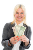 Smiling young business woman with dollars Stock Photos