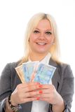 Smiling young business woman with euros Royalty Free Stock Images