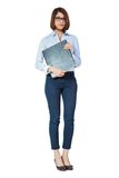 Smiling young business woman with folder portrait Stock Images