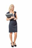 Smiling young business woman with folder portrait Stock Photos