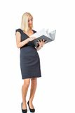 Smiling young business woman with folder portrait Royalty Free Stock Photos
