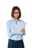 Smiling young business woman with folder portrait Royalty Free Stock Image