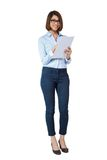 Smiling young business woman with folder portrait Stock Photo