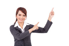 Smiling young business woman hand point . suggest work Royalty Free Stock Photo
