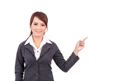Smiling young business woman hand point . suggest work Royalty Free Stock Photography