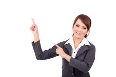 Smiling young business woman hand point . suggest work Royalty Free Stock Images