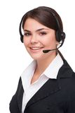 Smiling young business woman with headphones Royalty Free Stock Photo
