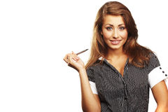 Smiling young business-woman holding pen Royalty Free Stock Photography