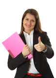 Smiling young business woman  isolated on a white Stock Photos
