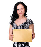 Smiling young business woman showing blank Royalty Free Stock Images