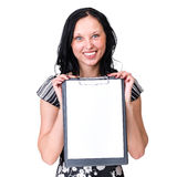 Smiling young business woman showing blank Royalty Free Stock Photo