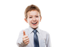 Smiling young businessman child boy gesturing thumb up success s. Little smiling young businessman child boy hand gesturing thumb up success sign white isolated Royalty Free Stock Photo