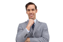 Smiling young businessman looking at the camera Stock Photo