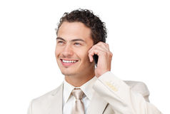 Smiling young businessman on phone Stock Images