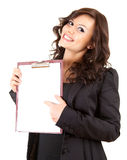 Smiling young businesswoman with blank clipboard Royalty Free Stock Photo