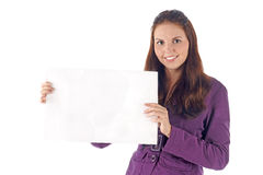 Smiling young businesswoman with clean sign Stock Images