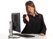 Smiling young businesswoman with computer Royalty Free Stock Photo