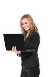 Smiling young businesswoman Holding Laptop.  on white  Royalty Free Stock Images