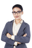 Smiling young businesswoman - isolated Royalty Free Stock Photos