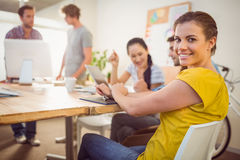 Smiling young businesswoman in a meeting Royalty Free Stock Images