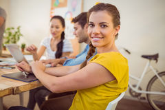 Smiling young businesswoman in a meeting Royalty Free Stock Image