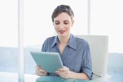 Smiling young businesswoman sitting at her desk holding a tablet Stock Photos