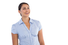 Smiling young businesswoman standing alone Royalty Free Stock Photo