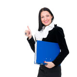 Smiling young businesswoman the thumb-up Royalty Free Stock Photos