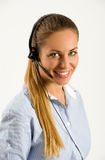 Smiling young call center operator Stock Photography