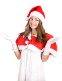 Smiling young christmas woman Stock Photos