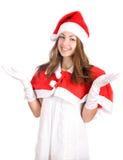 Smiling young christmas woman stock photos