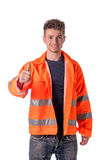 Smiling young construction or road worker Royalty Free Stock Image