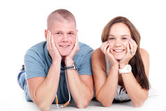 Smiling young couple stock images