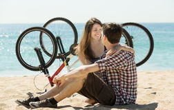 Smiling young couple after cycling Stock Photo