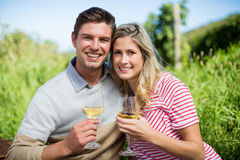 Smiling young couple embracing while holding wineglasses Stock Photos