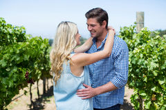 Smiling young couple embracing at vineyard Royalty Free Stock Images