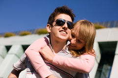 Smiling young couple having fun Royalty Free Stock Image