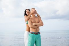 Smiling young couple having fun in summer holiday Stock Images