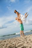Smiling young couple having fun in summer holiday Stock Photography