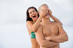 Smiling young couple having fun in summer holiday Royalty Free Stock Images