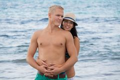 Smiling young couple having fun in summer holiday Royalty Free Stock Photo