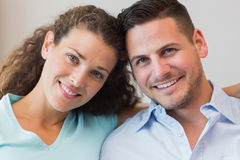 Smiling young couple at home Stock Photo