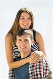 Smiling young couple running outdoor Royalty Free Stock Photo