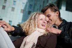 Smiling young couple together Royalty Free Stock Photo