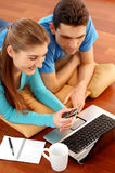 Smiling young couple using laptop at home Royalty Free Stock Image