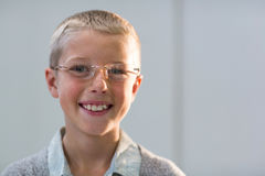 Smiling young customer wearing spectacles Royalty Free Stock Image